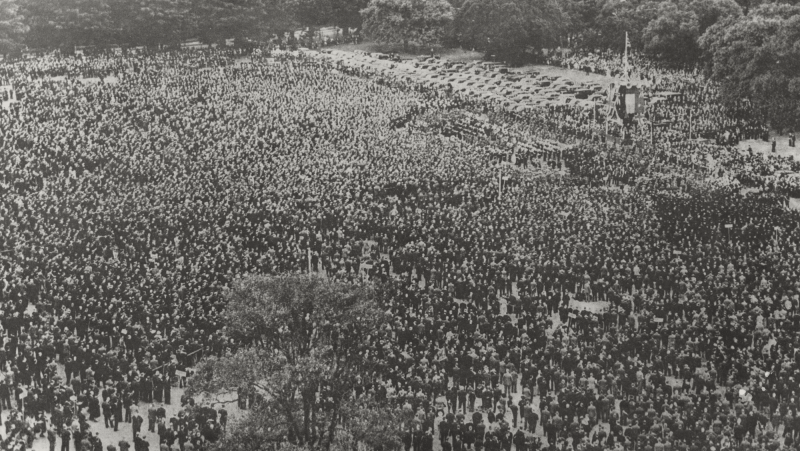 The Peace Celebrations of 1919. At the time this was the largest crowd of people to ever gather in The Domain.