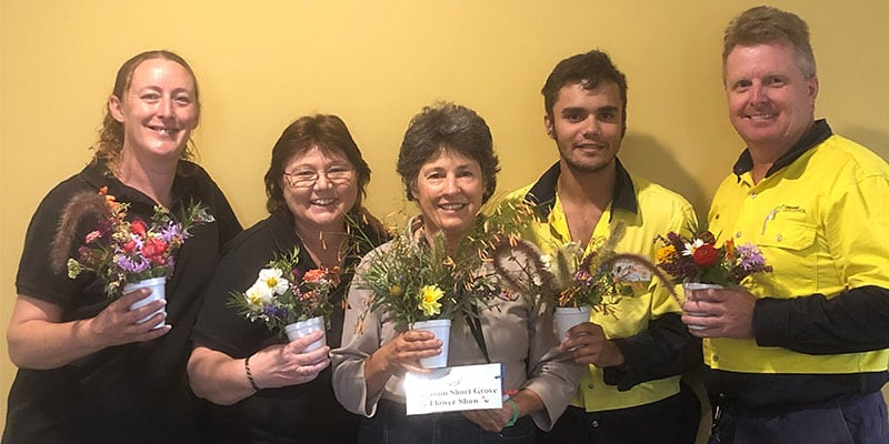 Leisure and lifestyle staff Leanne and Wendy from Benjamin Short Grove, Jay our chief judge and his manager Neil Bollinger from Orange Botanic Gardens