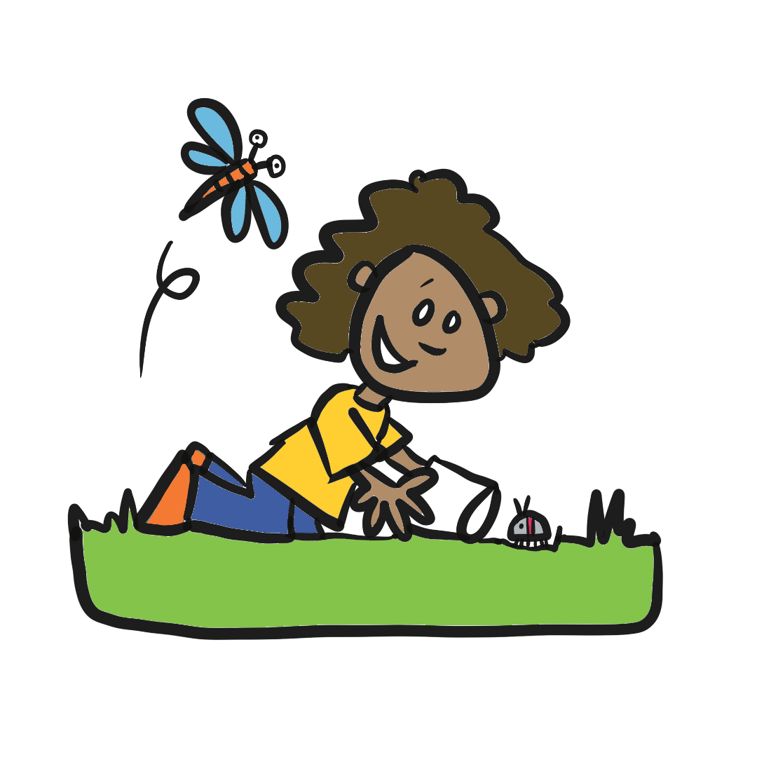Cartoon drawing of a kid looking for bugs
