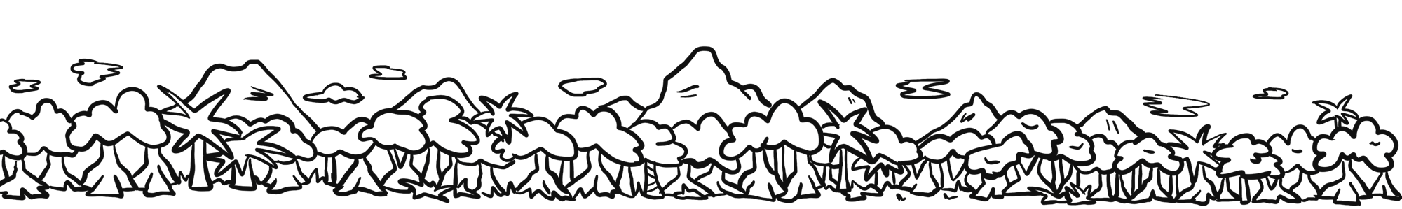 Cartoon drawing of forest and mountains