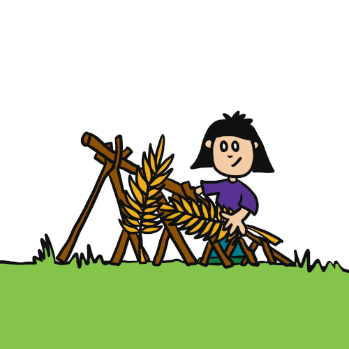 Girl building with sticks and leaves