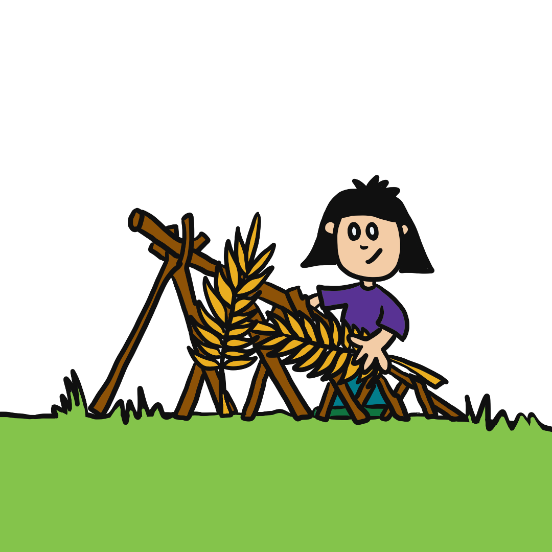 Cartoon drawing of a kid building a cubby house