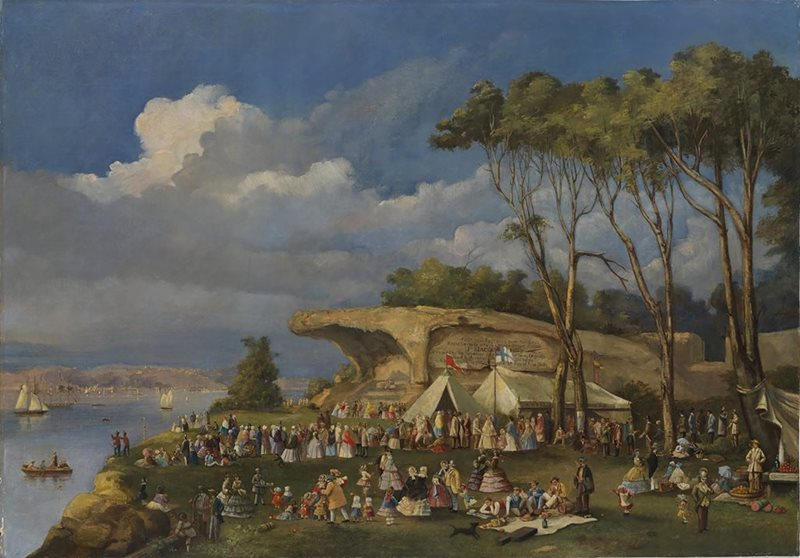 John Black Henderson() - Picnic at Mrs Macquarie's Chair, 1855.jpg