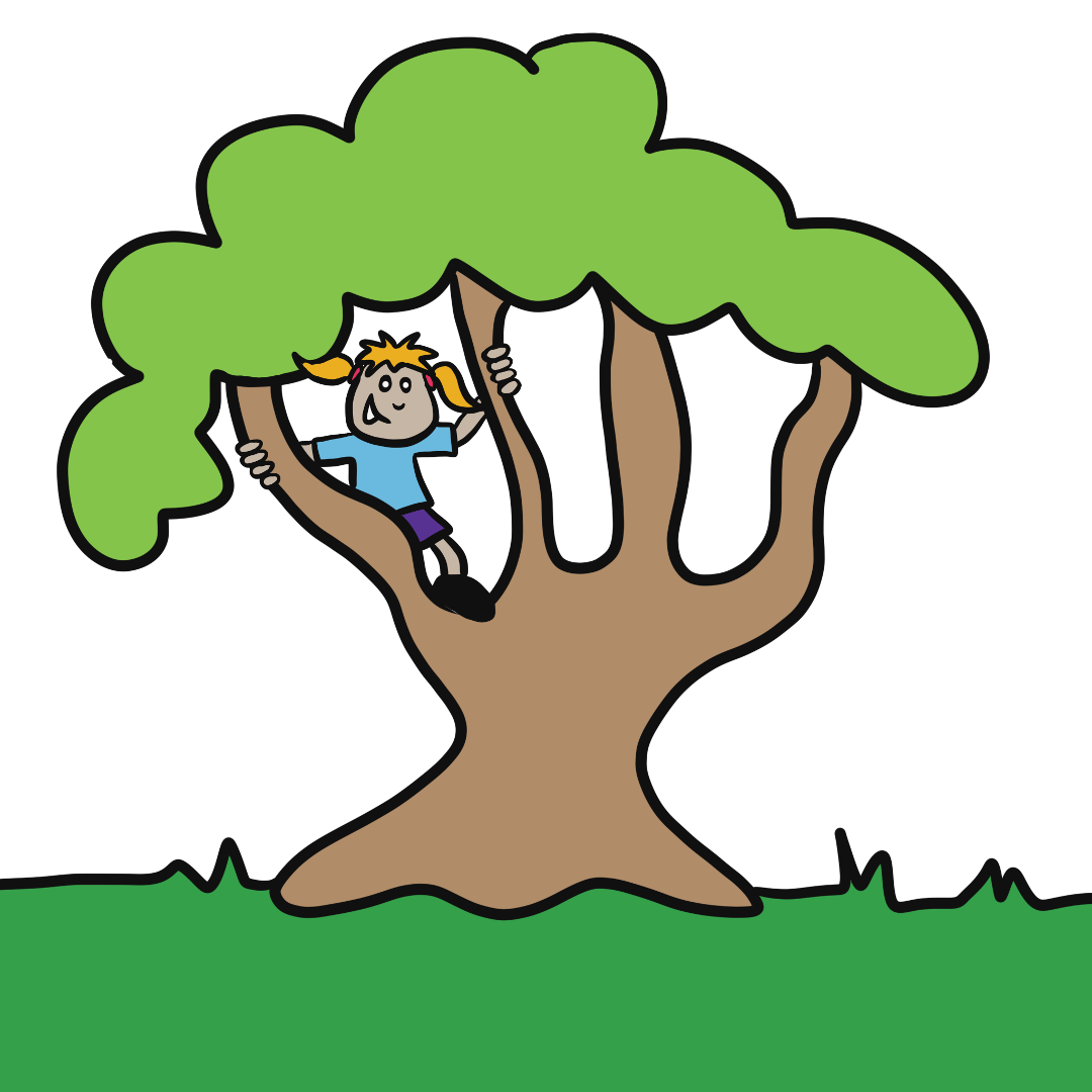 Cartoon drawing of a kid in a tree