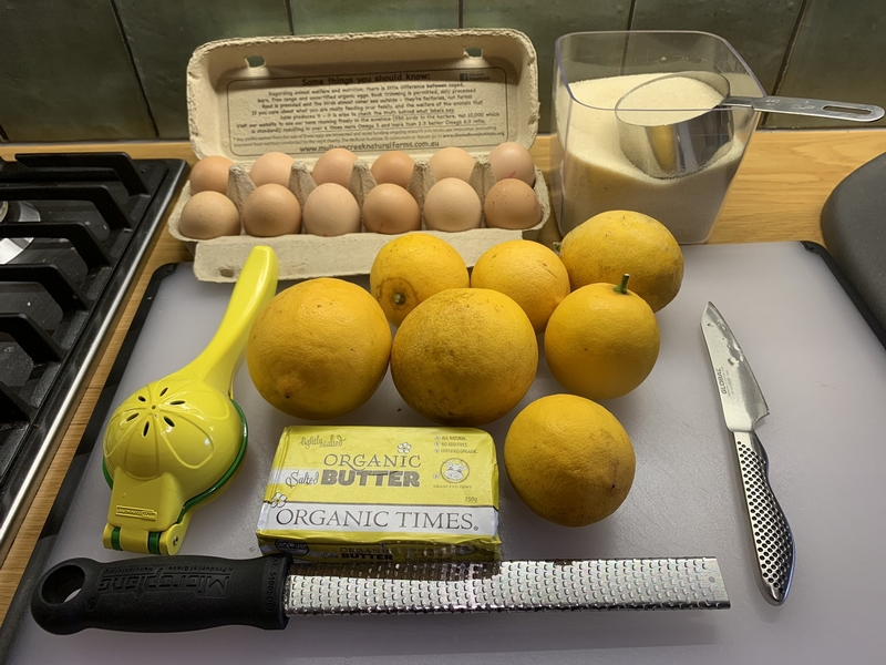 Ingredients for Lemon Curd recipe