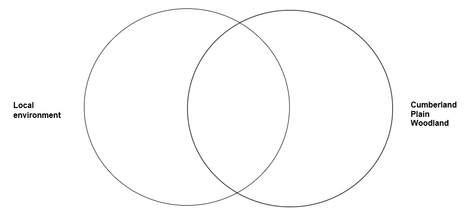 venn diagram with Cumberland Plain Woodland and Local envrironment options