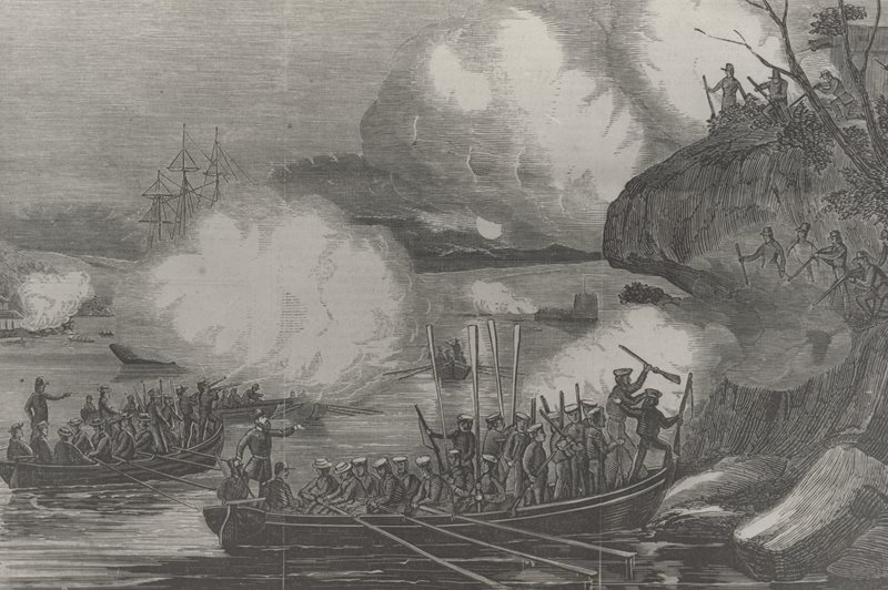 B3-002117, engraving, British practicing naval action at Mrs Macquaries Point