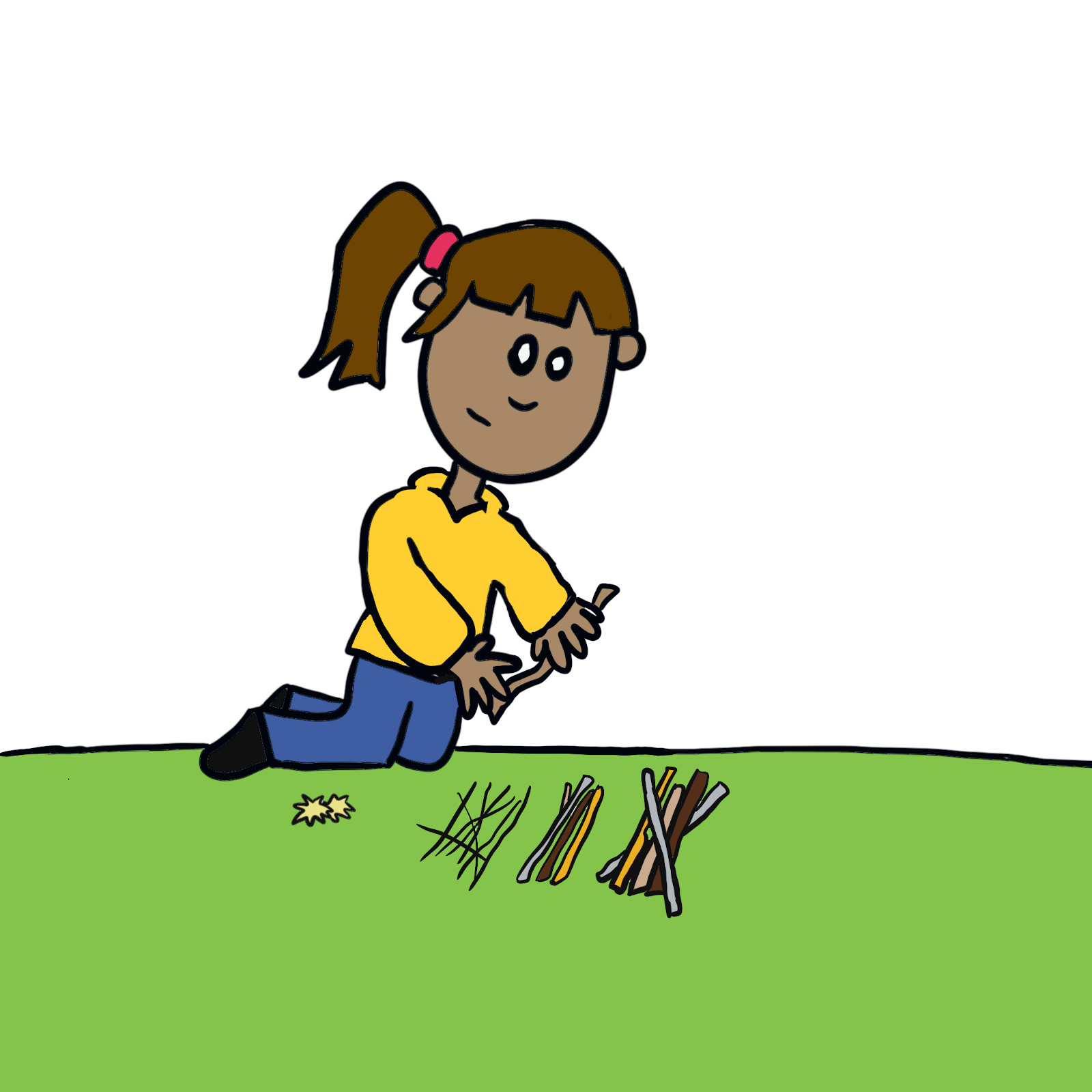 Girl sorting sticks by size