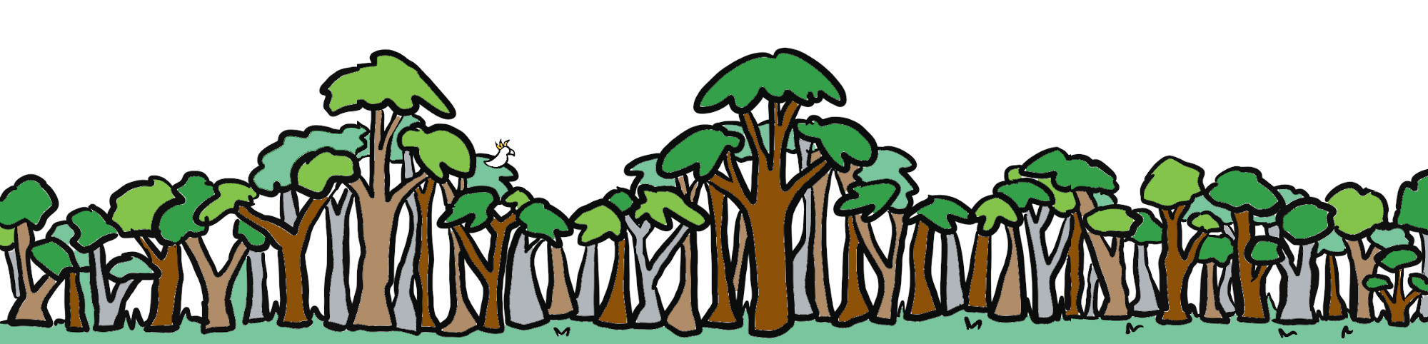 drawing of a line of trees